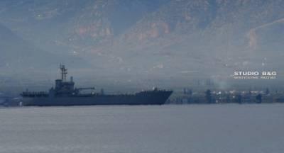 Το αρματαγωγό «ΧΙΟΣ» ανοιχτά του Ναυπλίου