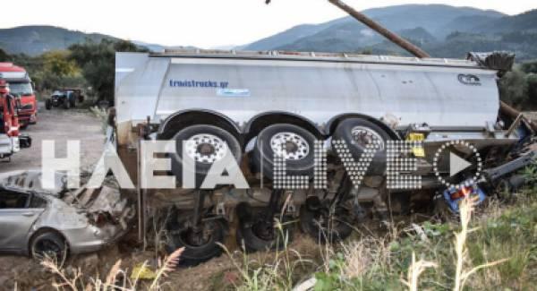 Νεκρός 22χρονος οδηγός σε εκτροπή νταλίκας στη Ζαχάρω (photos)
