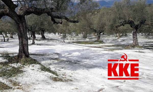 To χαλάζι στα χωράφια της Πελοποννήσου στη Βουλή από το ΚΚΕ