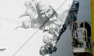 Μεσσήνη: Τοιχογραφία με ήρωες της Επανάστασης από την Σχολή Καλών Τεχνών