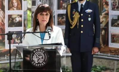Τα γραμματόσημα με την Ιστορία της Σπάρτης επιθεώρησε η Κατερίνα Σακελλαροπούλου