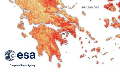 Kι όμως, το έδαφος στην Πελοπόννησοέχει 50 °C σύμφωνα με την ESA