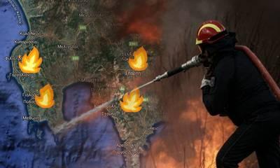 Πυρκαγιές στην Περιφέρεια Πελοποννήσου!