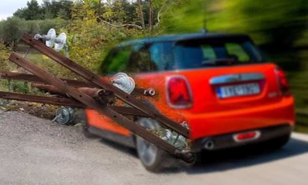 Μini Cooper «κόβει» κολώνα της ΔΕΗ στη Σπάρτη –  Δεν τραυματίστηκε ο οδηγός!