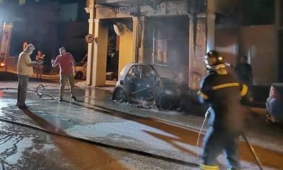Έκρηξη και πυρκαγιά σε αυτοκίνητο στην Πάτρα - Ανάστατοι οι κάτοικοι τα ξημερώματα (photos)
