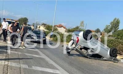 Απίστευτο τροχαίο στην Πατρών-Πύργου: Αναποδογύρισε αυτοκίνητο